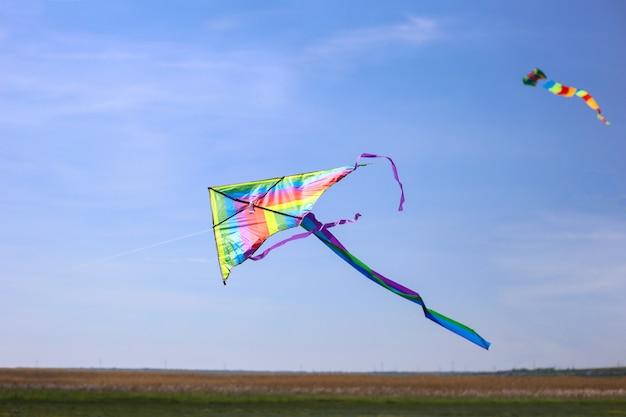 Show van vliegers. veelkleurige kite in de blauwe hemel. kopieer ruimte