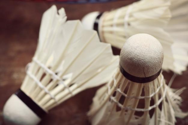 Shuttlecocks met badmintonracket
