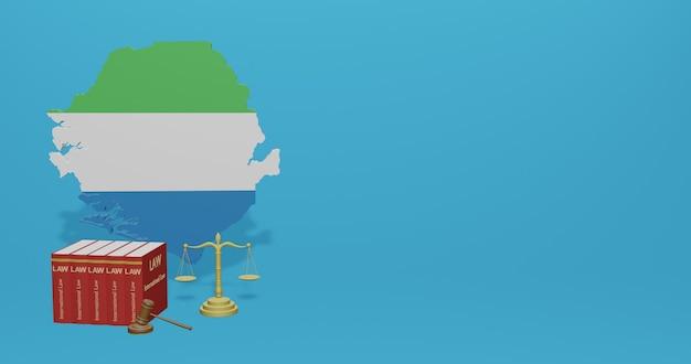 Siera leone-wet voor infographics, sociale media-inhoud in 3d-weergave