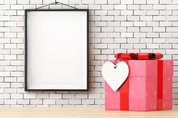 Sierlijke met harten papieren geschenkdoos met harttag voor bakstenen muur met lege frame extreme close-up. 3d-rendering