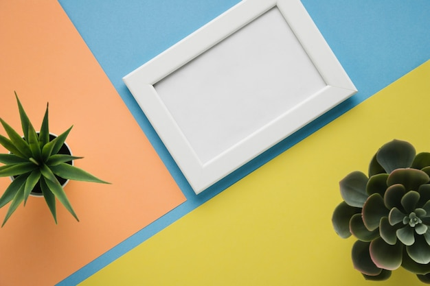 Sierplanten en minimalistisch wit kader