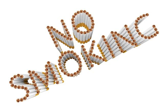 Sigaretten als niet roken woord op een witte achtergrond