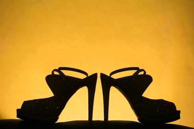 Silhouet bruiloft hoge hakken