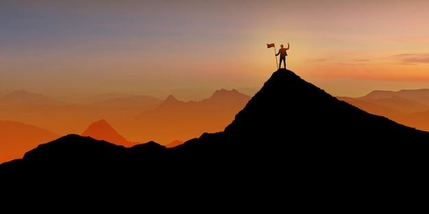 Silhouet die van zakenman zich op bergbovenkant bevinden over de achtergrond van de zonsondergangschemering met vlag, winnaar, succes en leidingsconcept