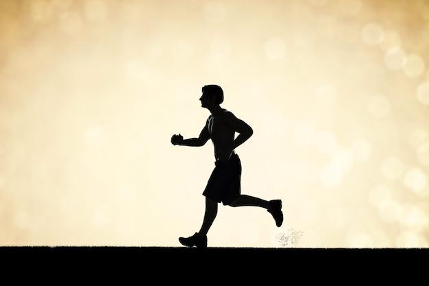 Silhouet man loopt of mannelijke loper