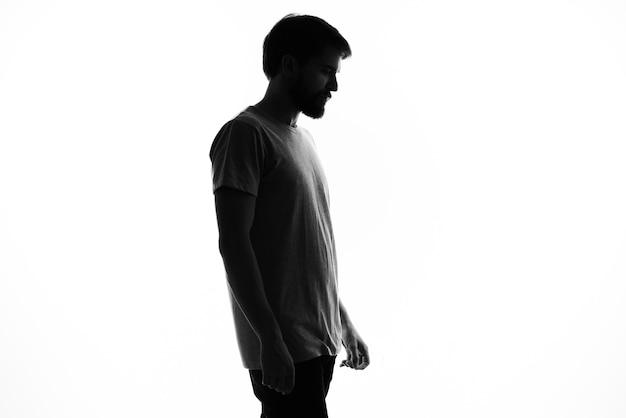 Silhouet mannen studio poseren anonimiteit