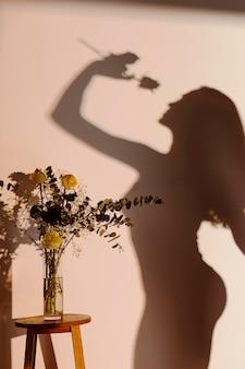 Silhouet van bevallige vrouw thuis