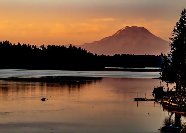 Silhouet van bomen in de verte bij het water met een berg