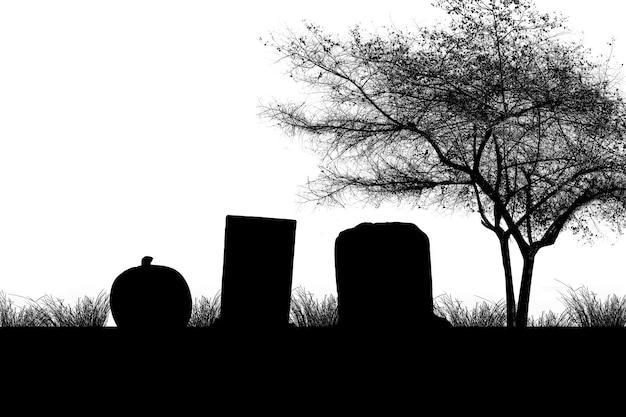 Silhouet van de begraafplaats met grafstenen en bomen met witte achtergrond. halloween-concept