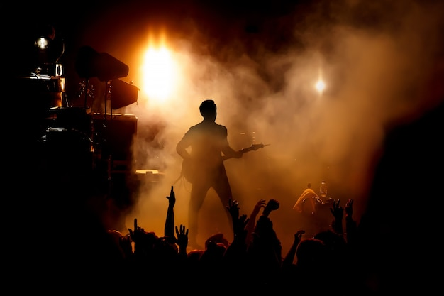 Silhouet van de gitarist op het podium over de fans.