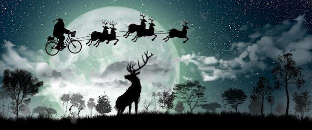 Silhouet van de kerstman die op de fiets rijdt om 's nachts een cadeau met rendieren te dragen