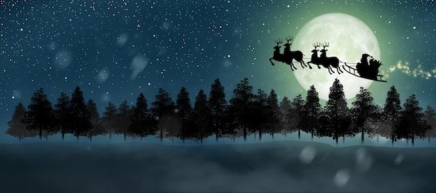 Silhouet van de kerstman krijgt een beweging om op de nachtelijke hemel boven het maanlicht te rijden vrolijk kerstfeest