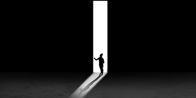 Silhouet van de mens die in de nacht naar het licht loopt, van bovenaf bekijken. manier van leven, nergens heen. flyer met copyspace. geest en kunstconcept, eenzaamheid, keuzevrijheid. abstracte illustratie.