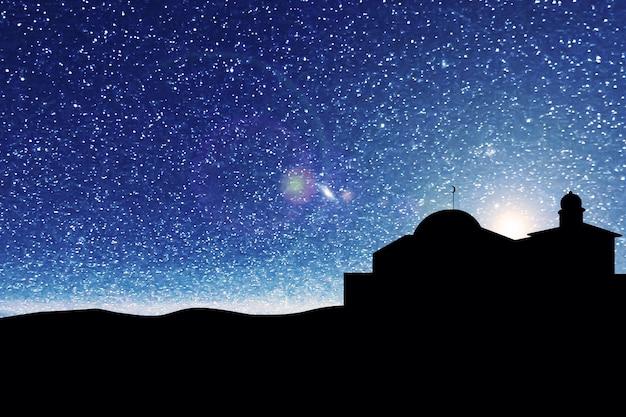 Silhouet van de moskee met de achtergrond van de nachtscène