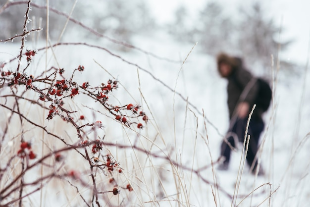 Silhouet van de reiziger om de berg in de winter te beklimmen