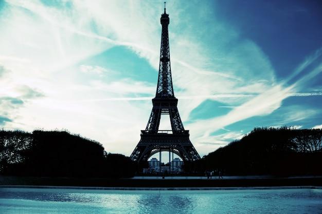 Silhouet van de toren van eiffel