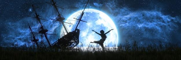 Silhouet van een dansende vrouw tegen de achtergrond van de maan en een overstroomd oud schip, 3d illustratie