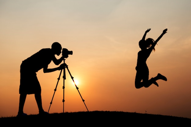 Silhouet van een fotoshoot