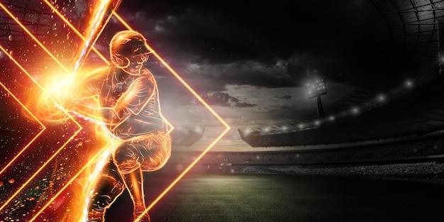 Silhouet van een honkbalspeler in brand