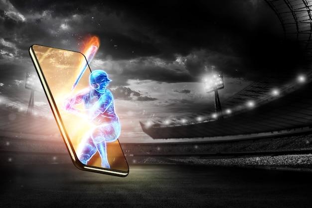 Silhouet van een honkbalspeler