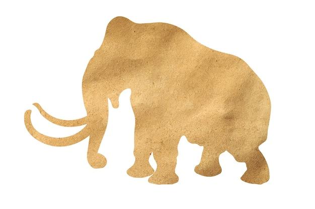 Silhouet van een olifant van inpakpapier geïsoleerd op een witte achtergrond
