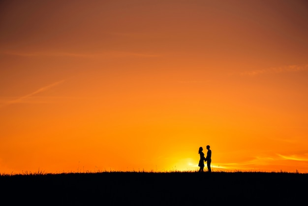 Silhouet van een paar dat in liefde samen koestert