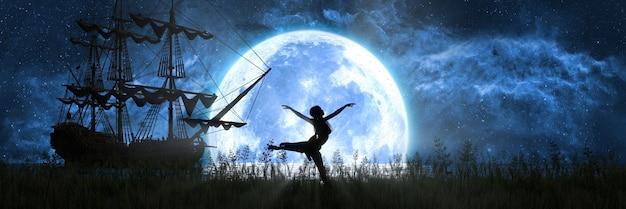 Silhouet van een vrouw die op de achtergrond van de maan en het schip danst, 3d illustratie
