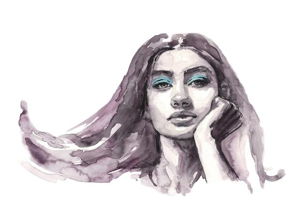 Silhouet van het gezicht van een vrouw aquarel illustratie