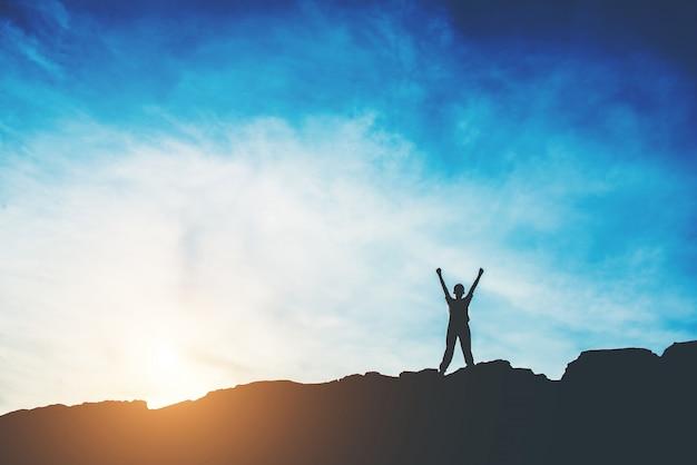 Silhouet van mensen gelukkige tijd