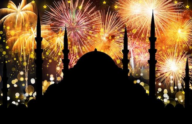 Silhouet van moskee met kleurrijke abstracte achtergrond