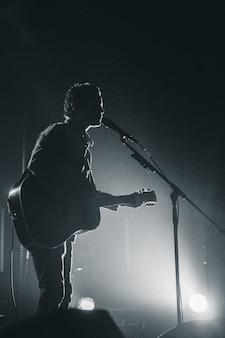 Silhouet van persoon gitaar spelen 's nachts
