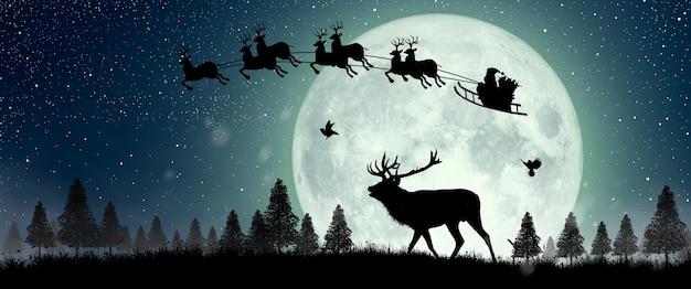 Silhouet van rendieren die de kerstman zien vliegen op rendieren over de volle maan 's nachts kerstmis