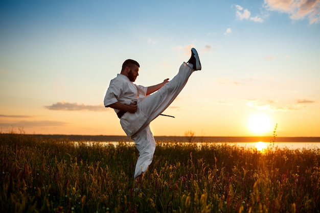 Silhouet van sportieve man opleiding karate in veld bij zonsopgang.