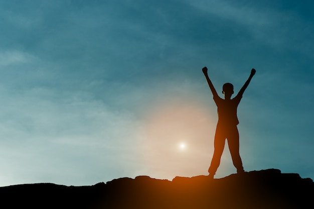 Silhouet van teamleiderschap, teamwork en teamwerk en prachtige silhouetconcepten