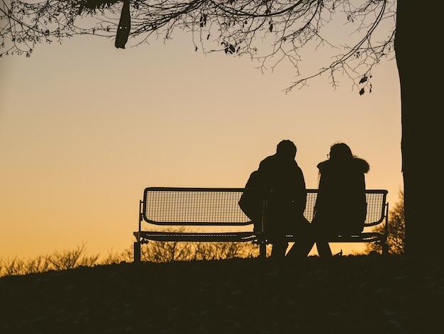 Silhouet van twee mensen zittend op een bankje onder een boom tijdens een zonsondergang