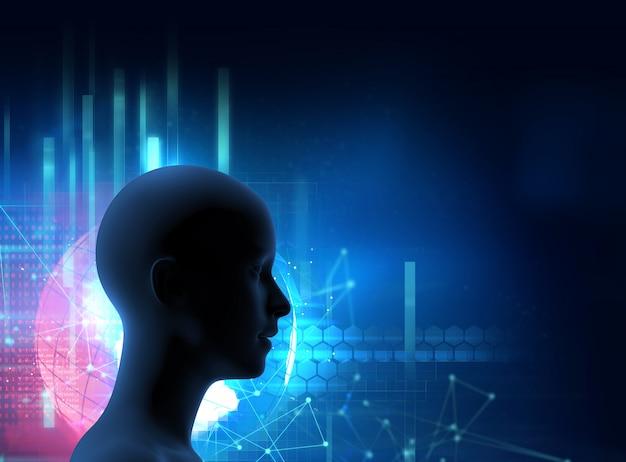 Silhouet van virtuele mens op digitale 3dillustration van de wereldkaart