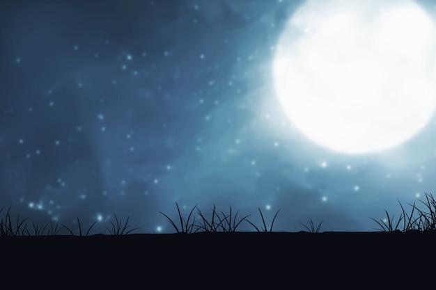 Silhouet van weidegebied met maanlicht en de achtergrond van de nachtscène