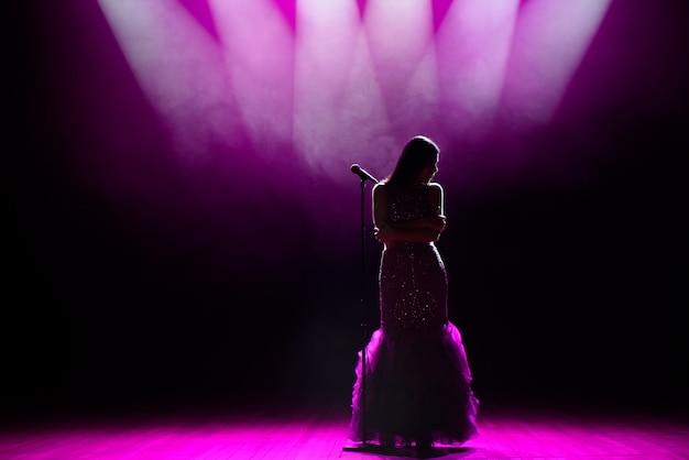 Silhouet van zanger op het podium. donkere achtergrond, rook, schijnwerpers.