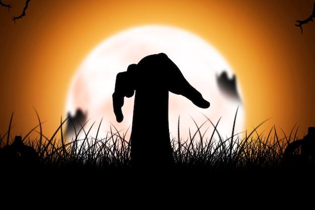 Silhouet van zombiehand die van de grond met volle maanachtergrond wordt opgeheven