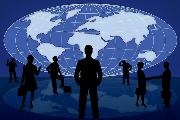 Silhouet zakenmensen op blauwe wereldkaart