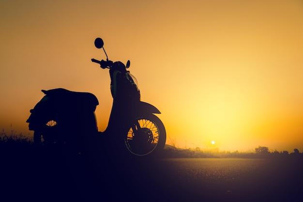 Silhouetautoped die zich op gebied bij zonsondergang bevindt