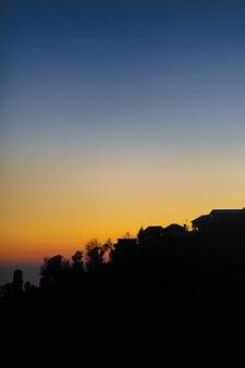 Silhouetmening van het bos tegen de achtergrond van de nachtelijke hemel