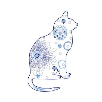 Silhouetteer de kat in ikat naadloos patroonetnische stofsiermotief voor stoffenwebpagina