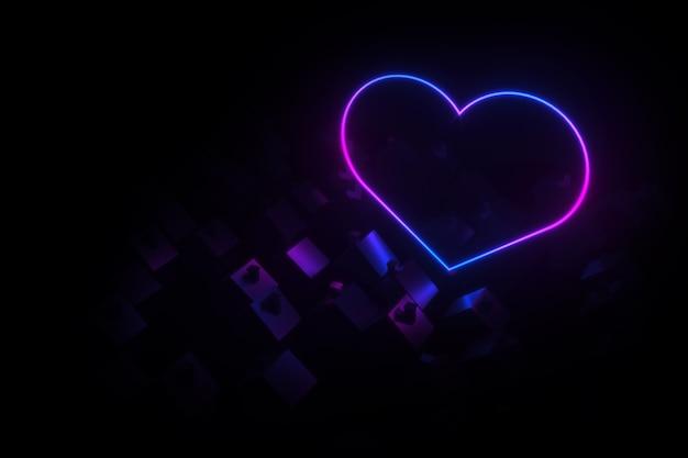 Silhouetten van kleine dorpshuizen met schuine daken verlichte silhouet neon hart 3d illustratie