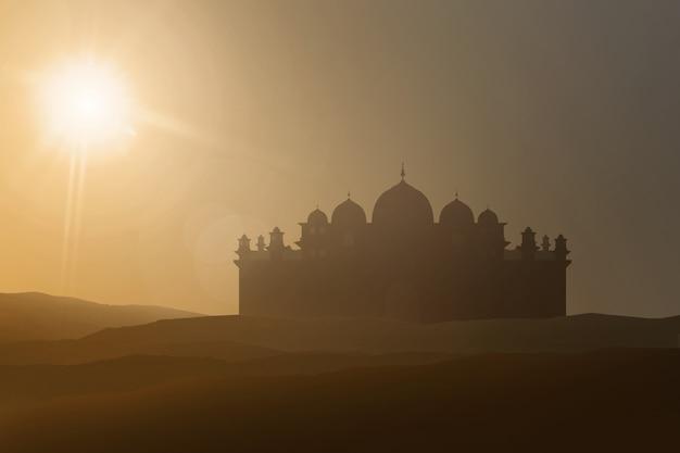 Silhouetten van majestueuze moskee op woestijn