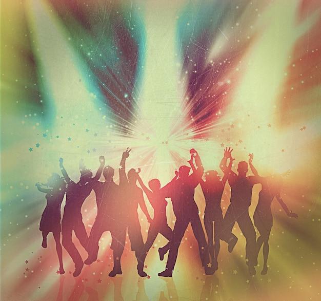 Silhouetten van mensen dansen op een abstracte achtergrond met vintage effect toegevoegd