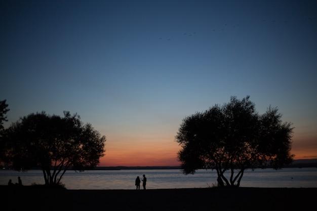 Silhouetten van mensen tegen de achtergrond van een prachtige zonsondergang. de man en vrouw.