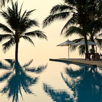 Silhouetten van palmbomen worden weerspiegeld in het zwembad