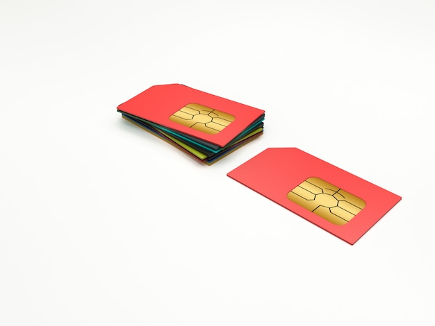 Sim-kaarten in verschillende kleuren