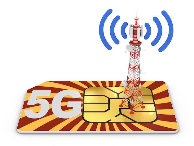 Simkaart en telecommunicatietoren